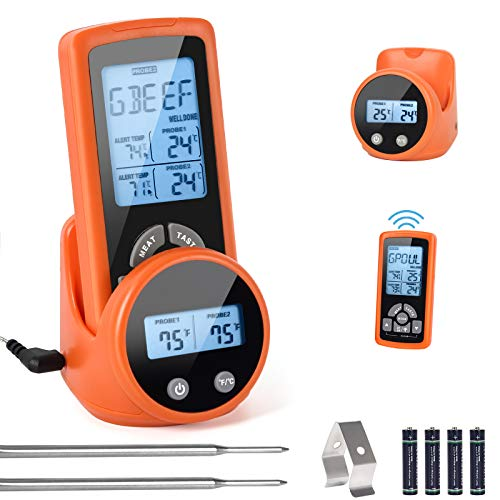 Wireless Meat Thermometer,Remote Digital Ultra Accurate Instant Read Safe Cooking Food Grill Oven Thermometers with Dual Probes,Alert & Timer,500FT Range for Smoker Grilling BBQ& Kitchen