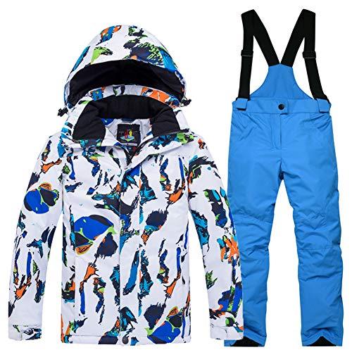 YFPICO Kinder Mädchen Jungen Skianzug Zweiteilig Verdickte Skijacke + Skihose Funktionsanzug Schneeanzug Regenjacke Schneehose Wasserdicht, Weiß Blau Skijacke + Blau Skihose, 134-140