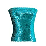 Naimo Women's Sparkly Bling Sequin Tube Top Sexy Stretchy Crop Top Party Costume Clubwear Camisoles (Blue)