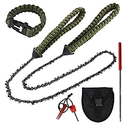 """Toyeah 36"""" Pocket Chainsaw with Paracord Handle, 48 Bi-Directional Teeth, Chain Rope Portable Hand Saw for Wood Cutting, Camping and Survival Chain Saw"""