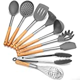 Godmorn Set di Utensili da Cucina (9 Pezzi), Utensili da Cucina in Silicone Antiaderente, per Cucinare – Silicone e Acciaio Inox e Manico in Legno - Kit per pentole e padelle
