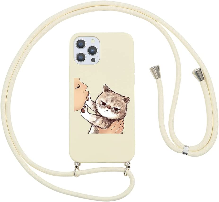 Pnakqil Compatible with Huawei P10 Lite Case 5.2 inch, Crossbody Adjustable Necklace Lanyard with Fashion Pattern Design Soft White TPU Shockproof Protective Case for Huawei P10 Lite 2017, Cat
