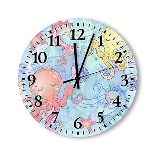 Reloj de pared de madera de 30,48 cm que no hace tictac reloj de pared decorativo de madera submarino mundo del pulpo y caballito de mar para sala de estar, cocina, dormitorio, oficina, escuela, hotel
