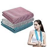 Hongfago HONGFA - Set di 3 Asciugamani, in Microfibra, per Fitness, Sport, Viaggi, Sauna, Corsa, Ciclismo, Golf, Campeggio, Yoga
