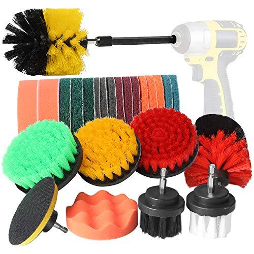 BYGD Juego de 26 cepillos de taladro, almohadillas y esponja, cepillo limpiador...