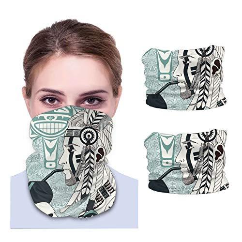 ZVEZVI The American Indian Drinking Yerba Mate von Calabash Stirnband Bandanas Shield für Gesicht Kopfbedeckung Gesicht Schal Maske Sturmhaube Hals Gamasche Headwrap 2pcs