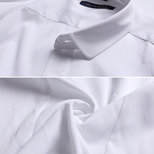 FLY-HAWK-Mens-Dress-Shirts-Fitted-Bamboo-Fiber-Short-Sleeve-Elastic-Casual-Button-Down-Shirts