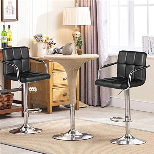Yaheetech 4pcs Adjustable Bar Stools Kitchen Counter Barstools Bar/Counter Height Stool Chairs PU Leather Hydraulic Swivel Dining Chair with Armrest, Black