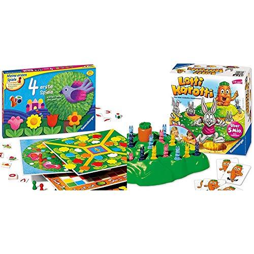 Ravensburger 21417 - 4 erste Spiele - Spielesammlung für die Kleinen - Spiele für Kinder ab 3 Jahren & Lotti Karotti, Brettspiel für Kindergeburtstage, Gesellschafts- und Familienspiel