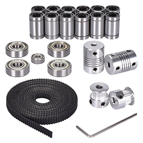 Kingprint 3D-Drucker-Kit für RepRap Prusa i3, 20 Zähne (20T) Zahnriemenrad, 2m GT2-Zahnriemen, LM8UU lineares Kugellager, 608ZZ- + 624ZZ-Kugellager, Motorwellenkupplung