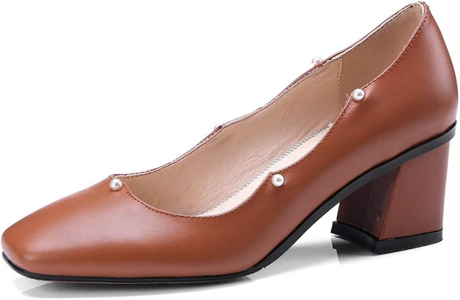 Nine Seven Genuine Leather Women's Round Toe Chunky Heel Handmade Pumps shoes with Pearl Detail (4.5, Brown)