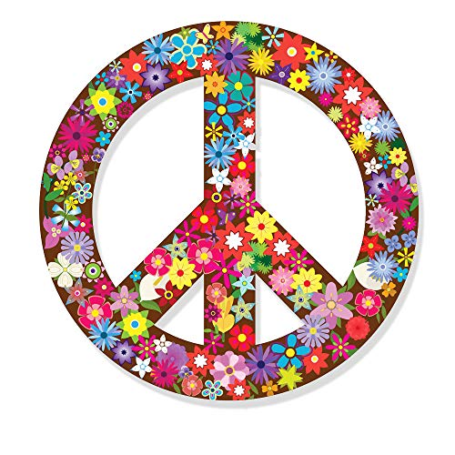 Bluement Designs Peace Sign Sticker Colorful Hippie Decals for Car, Refrigerator, Luggage, Vehicle, Window, Bumper, Laptop, Locker - 5 inches