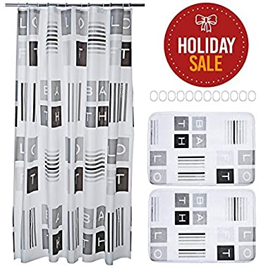 15-piece Bathroom Set. Includes Shower Curtain Liner, Bathroom Rugs and Rings