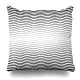 zhengchunleiX taie d'oreiller Throw Pillow Covers Modern Wave Halftone Black White Wavy Pattern Abstract Geometry Blind Bright Contemporary Creative Dark Home Decor Pillow Case Square Size