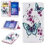 HCUI Huawei Honor 6X Handyhülle PU Flip Leder Cover mit Cash Card Slots, Leder Tasche und Ständer Magnetverschluß Kratzfestes Schutzhülle für Huawei Honor 6X - Schmetterlings Weiß. -