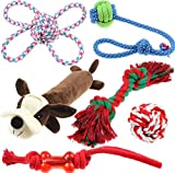 Thepeco Small Pets/ Dogs/ Puppy Durable Squeaky Chew Toys, Teething & Training Interactive Ropes | Non-toxic Tasteless Material Vibrant Colorful Attractive Design Best Gift for Puppies/ Cats (6-Pack)