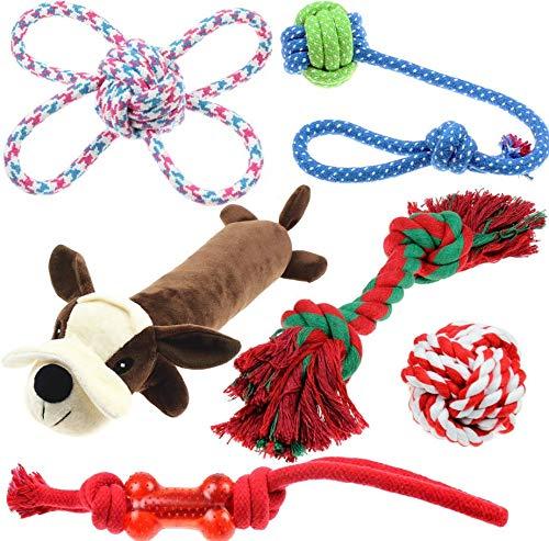 Famoso pacchetto da 6 di giocattoli per cani. Corde resistenti per la dentizione e il gioco interattivo. Rendi felice il tuo cane. Toy Dog arriva con un cigolio.