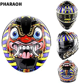 EDTara Outdor Riding Helmet Motorcycle Racing Helmet Men and Women Motorcycle Helmet Double Lenses Compatiable with Glasses Safe ECE Standard Helmet Motorcycle Accessaries Pharaoh XXL