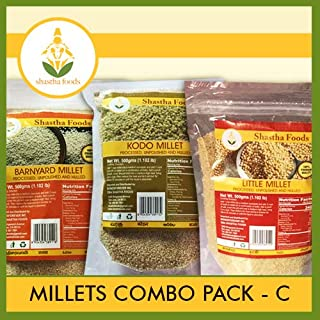 Shastha Millets Combo Pack C (Contains 3 Items) Little Millet, Kodo Millet & Barnyard Millet (Each Pkt 500g) B-P