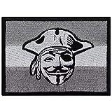 Flagge Aufnäher Pirat grau-weiß Flagge Biker Patch Rocker Bügelbilder Heavy Metal Sticker zum aufnähen Männer-Geschenk DIY Applikation für Leder-Jacken/Kutten/Jeans/Taschen 90x65mm