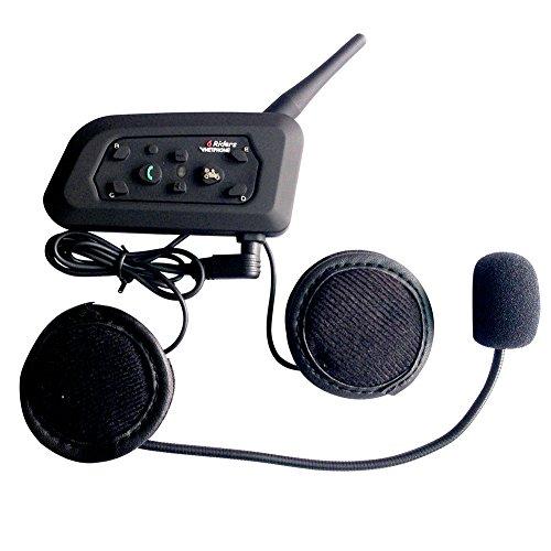 QSPORTPEAK Bluetooth Motorradhelm Communicator Headset,Vnetphone V6 1000m Reichweite 6-Fahrer Interphone, Bedienungsanleitung in Deutsch