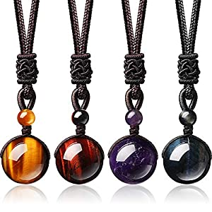 4 Pieces Natural Crystal Pendant Necklaces Healing Crystal Beads Necklaces Lucky Blessing Chakra Crystal Necklace 16 mm Black Obsidian Tiger Eyes Stone Necklaces with Adjustable Braided Rope Cords
