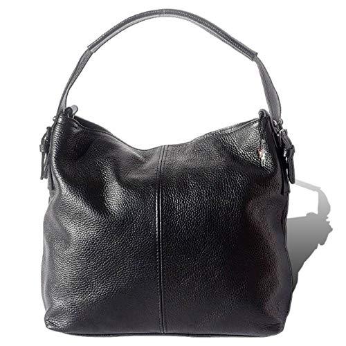 Florence ital. Schultertasche Echtleder Damen schwarz Hobo Bag 34x27x10 D1OTF110S Leder Tasche von Florence für die Frau