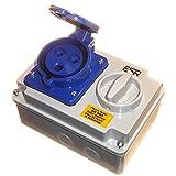Presa con interlock, con 3 fori, 2P+T, 32 A, 230 V, monofase, colore blu (etichetta in lingua italiana non garantita)