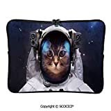 YOLIYANA Laptop Bag Milkyway Galaxy Space Traveller Cat in Suit with Stars Backdrop Laptop Sleeve Bag Water-Resistant Protective Case Bag Compatible with Any Notebook 11.6 inch/12 inch