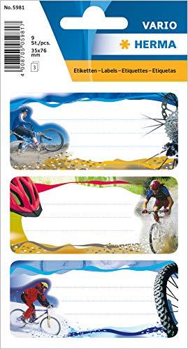 Herma 5981 boeketiketten school, motief mountainbike, inhoud: 9 schoollabels voor schoolschriften, formaat 7,6 x 3,5 cm