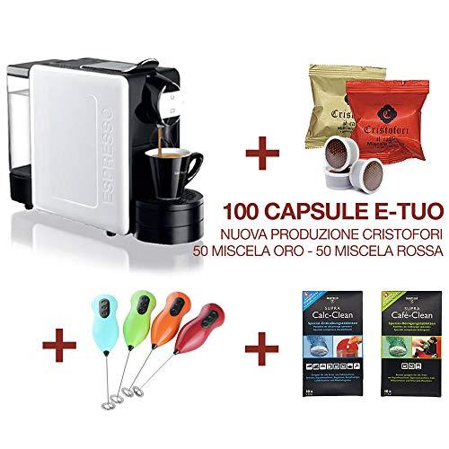 Macchina Caffè Martello Stilista 20bar + 100 Capsule E-Tuo, Montalatte, Kit decalcificante (Ricondizionata a nuovo)