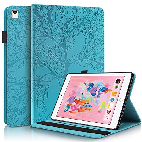 SHIEID For Apple iPad Air 2019 10.5' Case Premium PU Leather Case [Embossed Vintage Print] Tablet Case with [Kickstand]+[Card Slot] Tablet Cover for Apple iPad Air 2019 10.5', Blue