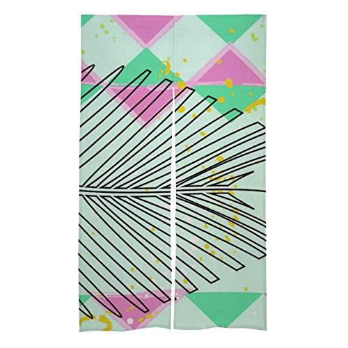 happygoluck1y Illustratie Geometrische Driehoek Bladeren Patroon Deur venster Gordijn Paneel, Raam Behandeling Gordijnen, Deur Gordijnen, Raam Draps 2 St., voor Slaapkamer, Woonkamer
