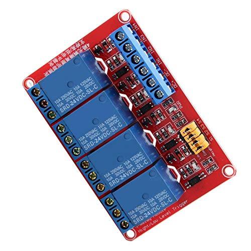 Relé optoacoplador 4 canales 5 V / 12 V / 24 V Cuatro orificios para pernos de fijación Capacidad de conducción fuerte Placa de expansión de disparo alto bajo para Arduino Industrial Eléctrico(24V)