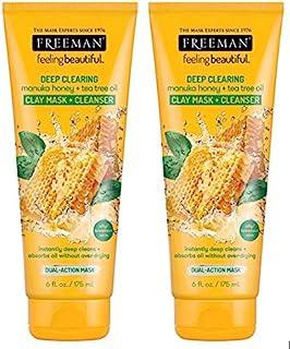 Freeman Facial Manuka Honey + Tea Tree Clay Mask+Cleansr 6 Ounce (175ml) (2 Pack)