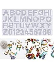 Molde de resina alfanumérica de silicona con forma de alfabeto y forma de alfabeto que se enfrenta a la parte trasera de joyería para hacer llavero de resina epoxi para hacer manualidades de azúcar