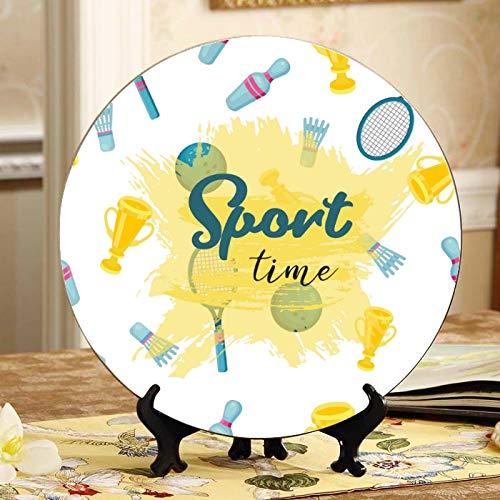Raqueta de bádminton y raqueta de tenis Platos de cerámica de pared Platos Placa oscilante decorativa para el hogar con soporte de exhibición Decoración Plato de cena para el hogar Exhibición