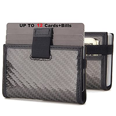 iPulse Minimalist Slim Wallet With RFID Protection - Tokyo Series Full Grain Leather Card Holder Case With Elastic Money Clip Band - [ Handmade ] [ Hold Up To 12 Cards] [ Credit Card Size ]
