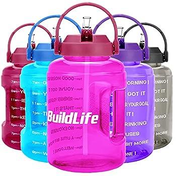 BuildLife Grande bouteille d'eau de 2,5 l avec marqueur de temps - Sans BPA - Large ouverture avec poignée - Réutilisable - Anti-fuite - Violet - 2,5 l