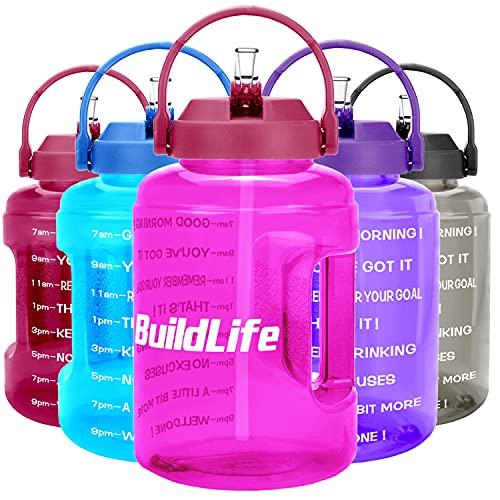 BuildLife Botella de agua de 2,5 l con diseño de estrellas y marcador de tiempo motivador, sin BPA, boca ancha con asa, reutilizable y a prueba de fugas.