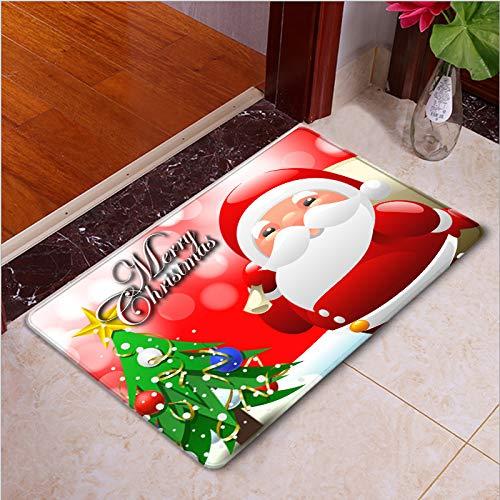 Lee My Alfombra de área de Santa de Dibujos Animados de Navidad, Alfombrilla de Puerta Bonita, Alfombrilla de Suelo para Festival de Navidad,Merry Christmas,45 * 75cm