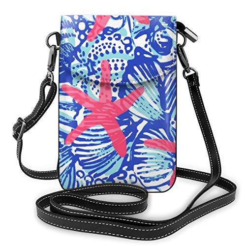 Rote Seestern-Perlenmuschel Leder Mini Umhängetasche Handtasche für Damen Outdoor Camping Sport Tasche