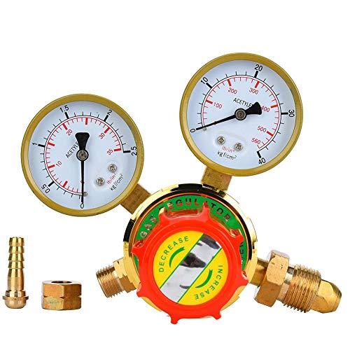 【𝐏â𝐪𝐮𝐞𝐬】 Régulateur de gaz, WX-YQE-03/60 Manomètre à acétylène Détendeur de gaz à acétylène pour kit de coupe de soudage au chalumeau à gaz G5/8 CGA580(60#) 【Cadeau de Noël, cadeau du Nouvel An】