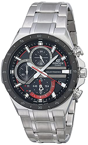 Casio Men's Edifice Quartz Watch with Stainless-Steel Strap, Silver, 28.5 (Model: EQS-920DB-1AVCR