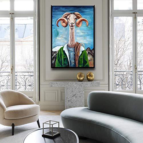N / A Einfache und stilvolle Ziege Handmalerei Leinwand Ölgemälde Poster und drucken Wandbild für Wohnzimmer Kinderzimmer Dekoration 50x70CM Kein Rahmen
