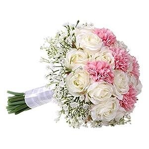 Silk Flower Arrangements YWXKA Bridal Bridesmaids Flowers Bouquets, Elegant Roses with Baby Breath Wedding Bouquet Artificial Silk Flowers (White+Pink)