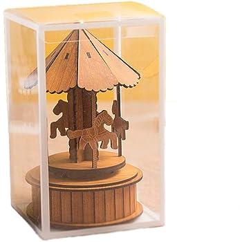 MINGZE Cajas Musicales, Caja de música de Madera Europea con 4 Caballos con carrusel, para niñas Niños Niños Bebé Navidad Cumpleaños Cumpleaños Regalo: Amazon.es: Hogar