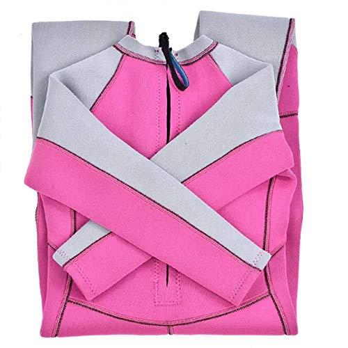 Keen so Tauchanzug, 3mm Badeanzug Kinder Neoprenanzug Warm Voll Langarm Kind Junior Jugend Schwimmen Surf Tauchen(L-grau & pink)
