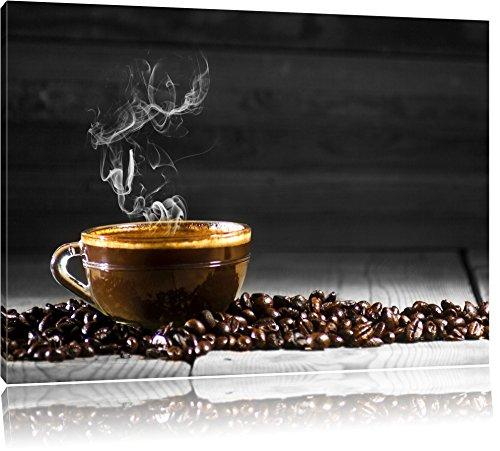 Duftender Arabischer Kaffe schwarz/weiß Format: 80x60 auf Leinwand, XXL riesige Bilder fertig gerahmt mit Keilrahmen, Kunstdruck auf Wandbild mit Rahmen, günstiger als Gemälde oder Ölbild, kein Poster oder Plakat