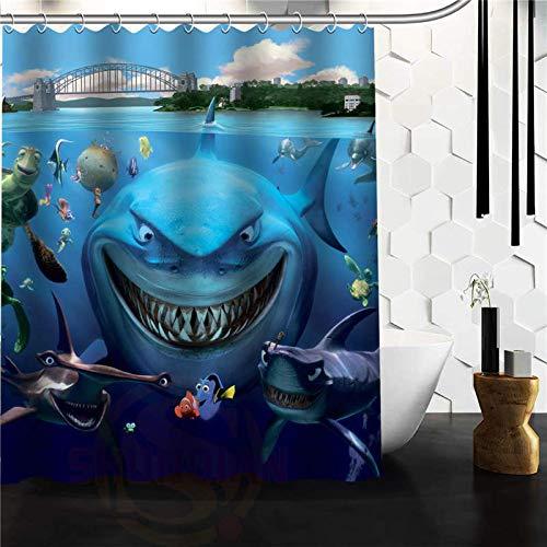 YEDL Cartoon White Shark Unterwasser Clown Fisch Duschvorhang DIY Bad Vorhang 180 × 180Cm